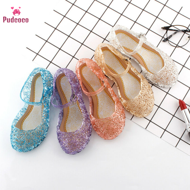 Pudcoco Summer Kids Girls Crystal Jelly Sandals Cinderella Princess Frozen Elsa Cosplay Party Dance High-Heeled Shoes