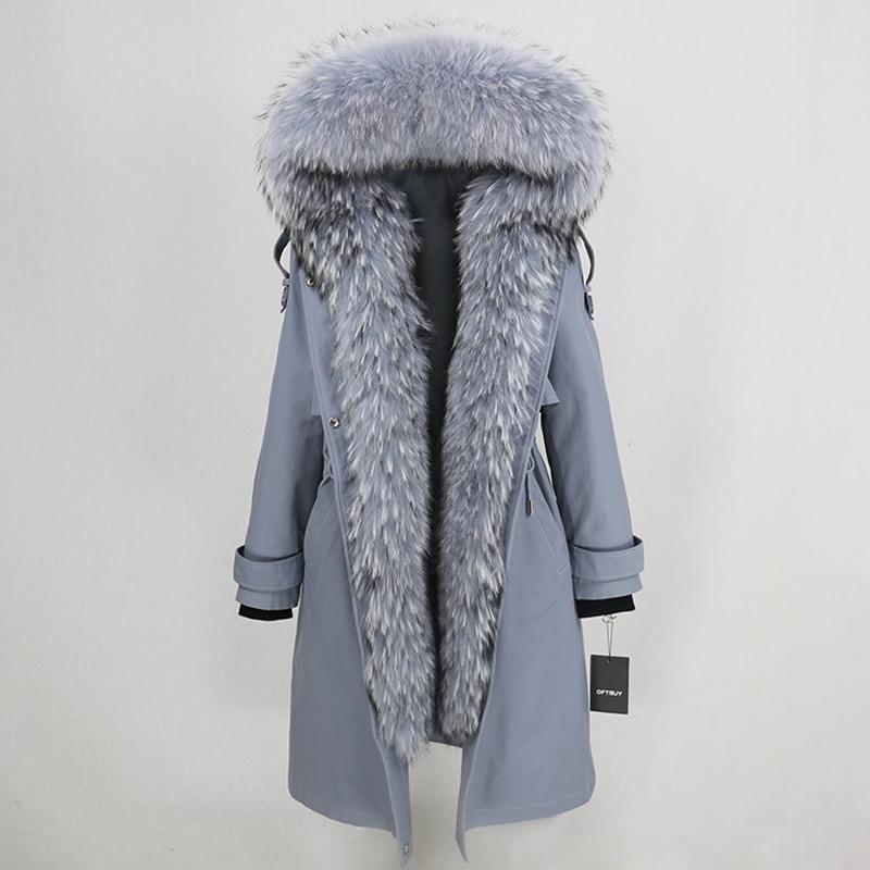 Image 5 - OFTBUY Waterproof Parka 2019 Real Fur Coat Winter Jacket Women Natural Raccoon Fur Collar Real Rex Rabbit Fur Liner Detachable-in Real Fur from Women's Clothing