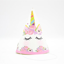 Unicorn Party Paper Cap Pink Animal Theme For Birthday Party Decorations Kids Party Paper Hat Baby Shower