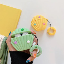 3D Cute Cartoon Conch Shell For Airpods 1 2 Case Silicone Earphone Apple Air pods Wireless Earpods Cover Ring Straps