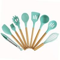 New Wood Handle Silica Gel 9 Kitchenware Sets Non stick Pan Silica Gel Shovel Kitchen Tool Shovel cook