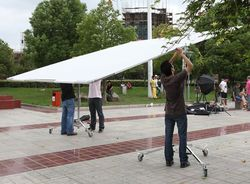 3.6*3.6m Butterfly diffusor reflector + frame + 2x roller stands backgroud kit Camera Background