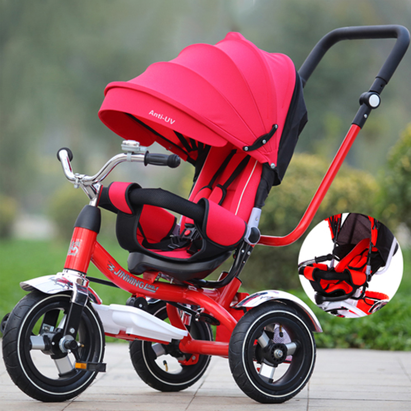 Baby Stroller Can Sit Lie 3 In 1 Portable Baby Tricycle Bike Baby Carriage 3 Wheels Convertible Handle Children Bicycle Trike