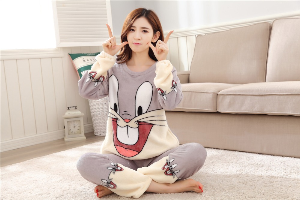 Women Pajamas Set For Autumn cute cartoon pink Women Clothes Sleepwear Nightgown For Women Long Sleeve And Pants Hot Sale pijama 74