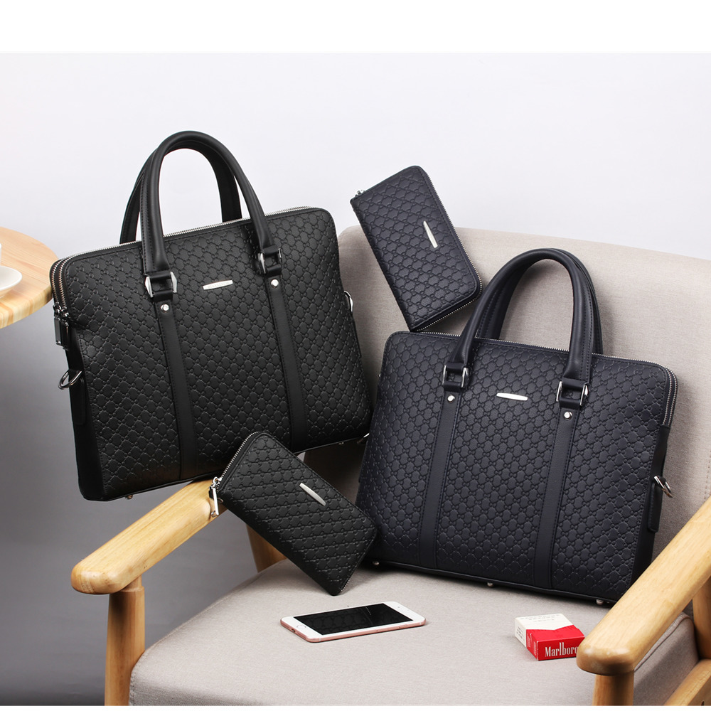 New Double Layers Men's Leather Business Briefcase