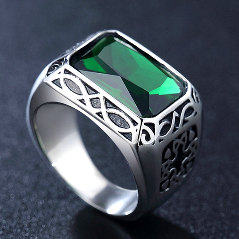 Big Emerald Gemstones Rings For Men Anillos White Gold Titanium Stainless Steel Cool Carving Jewelry Party Accessories Finger