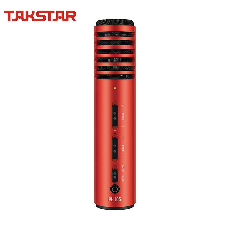 Micro à condensateur portatif de Microphone de téléphone intelligent de TAKSTAR pour le karaoké/la diffusion en ligne en direct/l'application de diffusion en direct (PH 105)