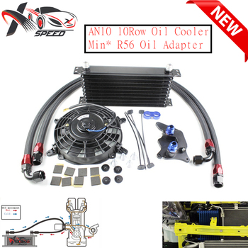 10 row oil cooler 7'' oil cooler fan + For Min* Coope* S R56 oil filter adapter XXTOL10-24BL/BK