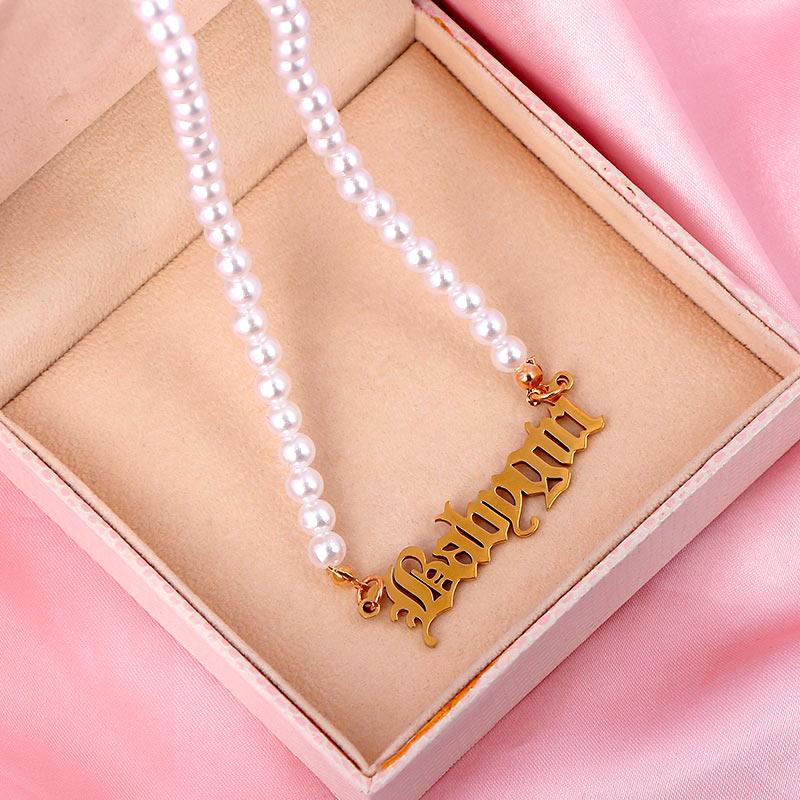 Moda zincir kadınlar için inci kolye barok inci Metal bebek kız mektuplar Charm kolye kolye gerdanlık düğün takısı hediye