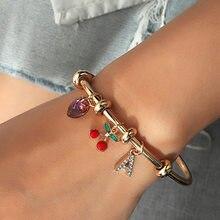 Borboleta de cereja charme pulseira moda cristal amor coração carta pulseiras bangles abertura ajustável bangle feminino jóias presente