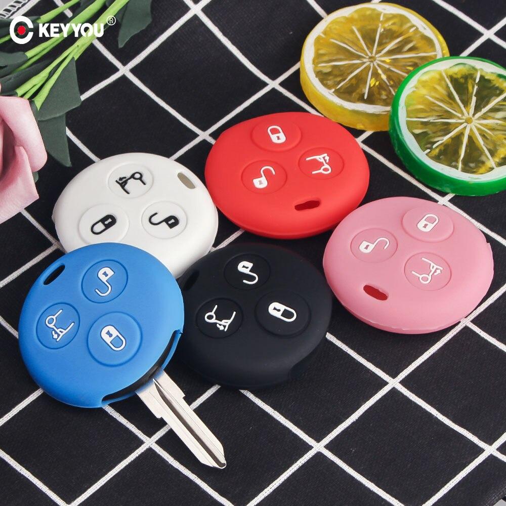 KEYYOU 3 أزرار غطاء مفتاح سيارة سيليكون فوب الحال بالنسبة لمرسيدس بنز الذكية مدينة رودستر Fortwo مفتاح حامل غطاء سيارة التصميم