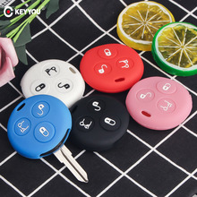 KEYYOU 3 Buttons Silicone Car Key Cover Fob Case For Mercedes Benz Smart City Roadster Fortwo Key Holder Cover Car Styling