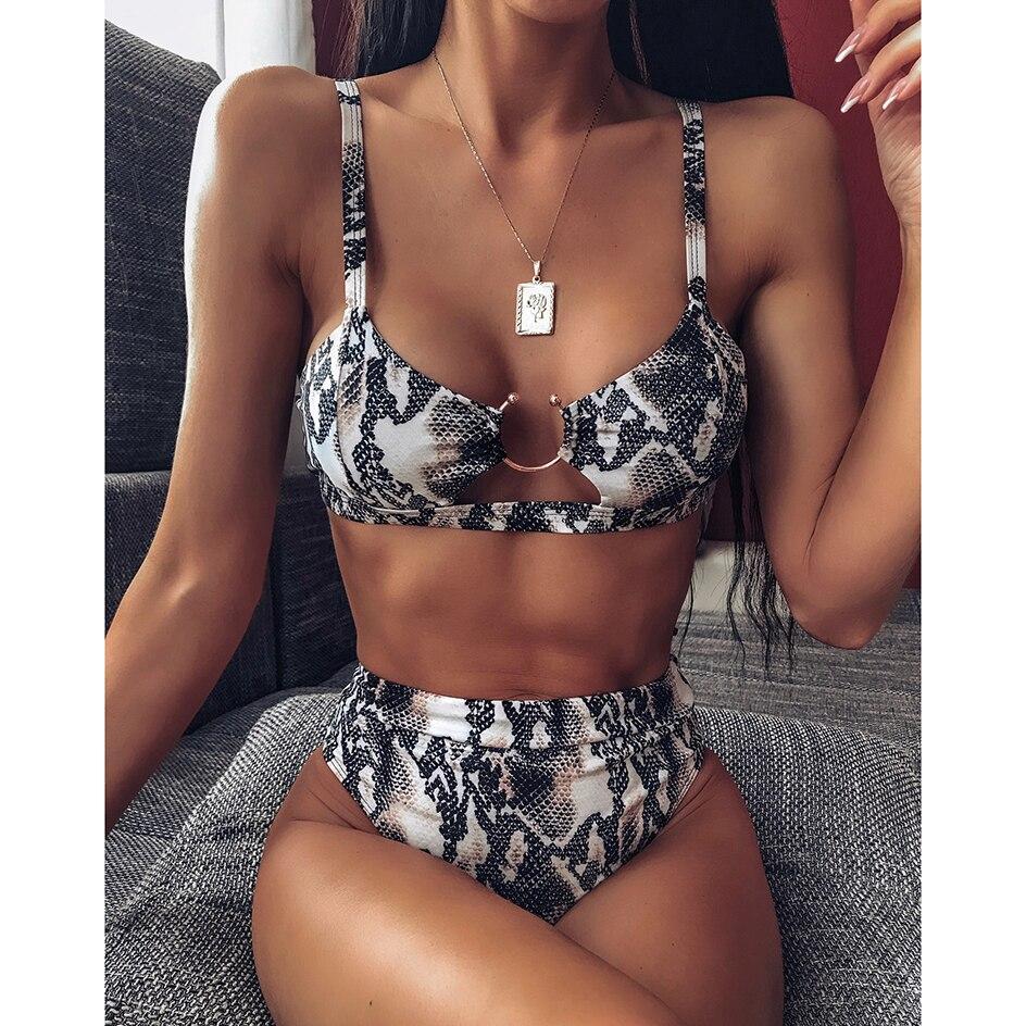 Sexy Snake Print Bikini 2019 Female Swimsuit Women Swimwear Thong Push Up Bikinis Set High Waist Swimming Suits for Bathing Suit