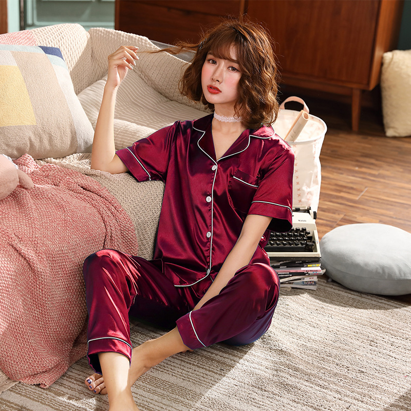 Silk Pajamas Set For Women Two Piece Solid Sleepwear Short Sleeves Sexy Nightwear