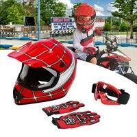 DOT Motorcycle Youth Kids Child helmet full face motocross casco moto Off-road Street Goggles Gloves Bike helmets ATV capacete 3