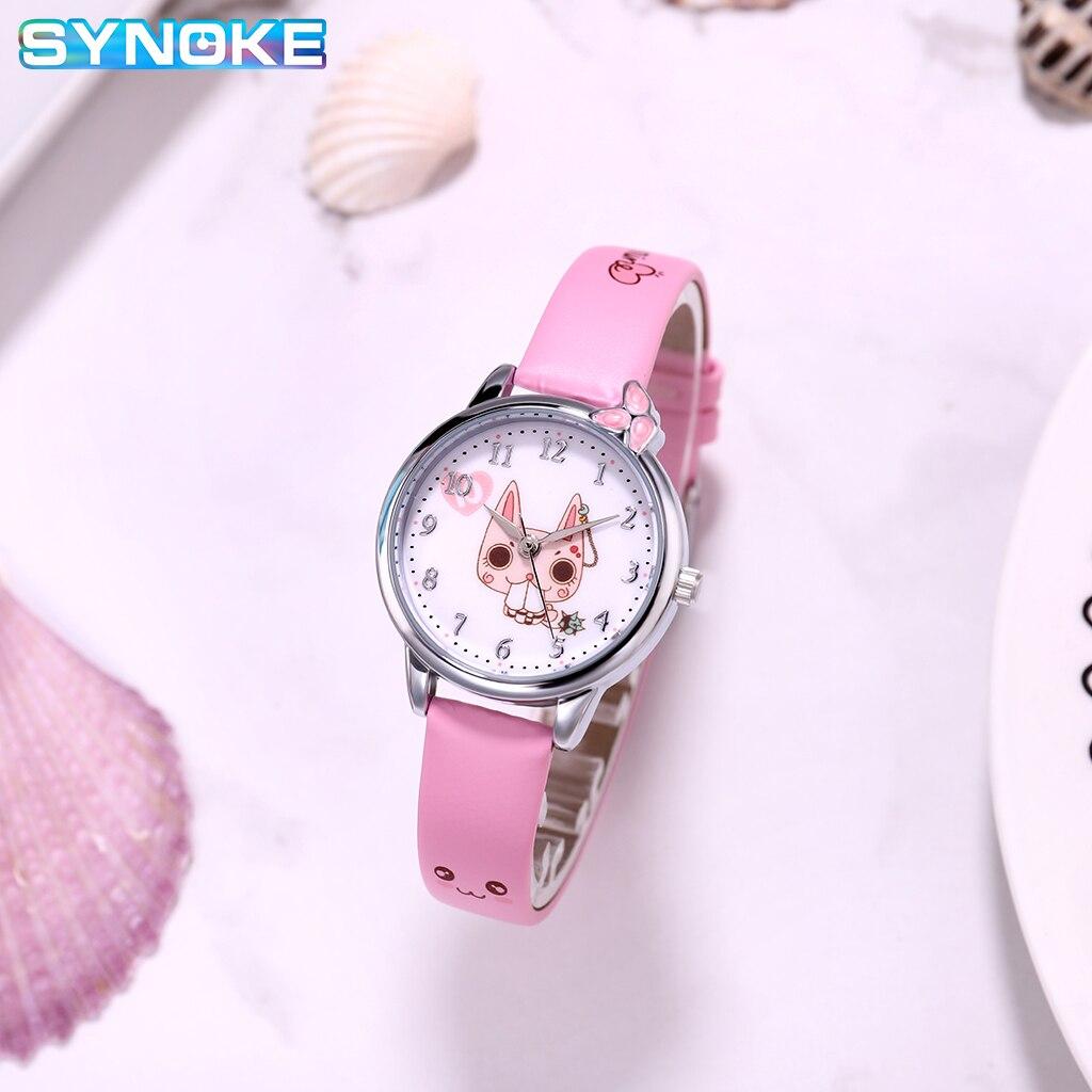 SYNOKE Kids Quartz Watches Cute Cartoon Boys Girls Gifts Colorful Leather Brand Children Quartz Watches Relogio WristWatch