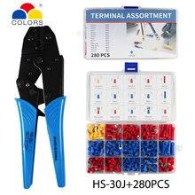 280pcs/Box Full Insulated Fork U-type Set HS-30J Terminals Crimping pliers Connectors Assortment Kit 0.5-6mm2 crimping toos