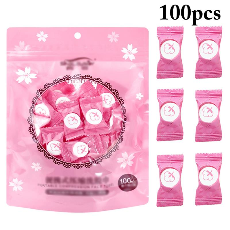 100PCS Compressed Towel Disposable Coin Tissue Compressed Wipe Tablet Capsules Cloth Wipes Paper Tissue Mask for Travel