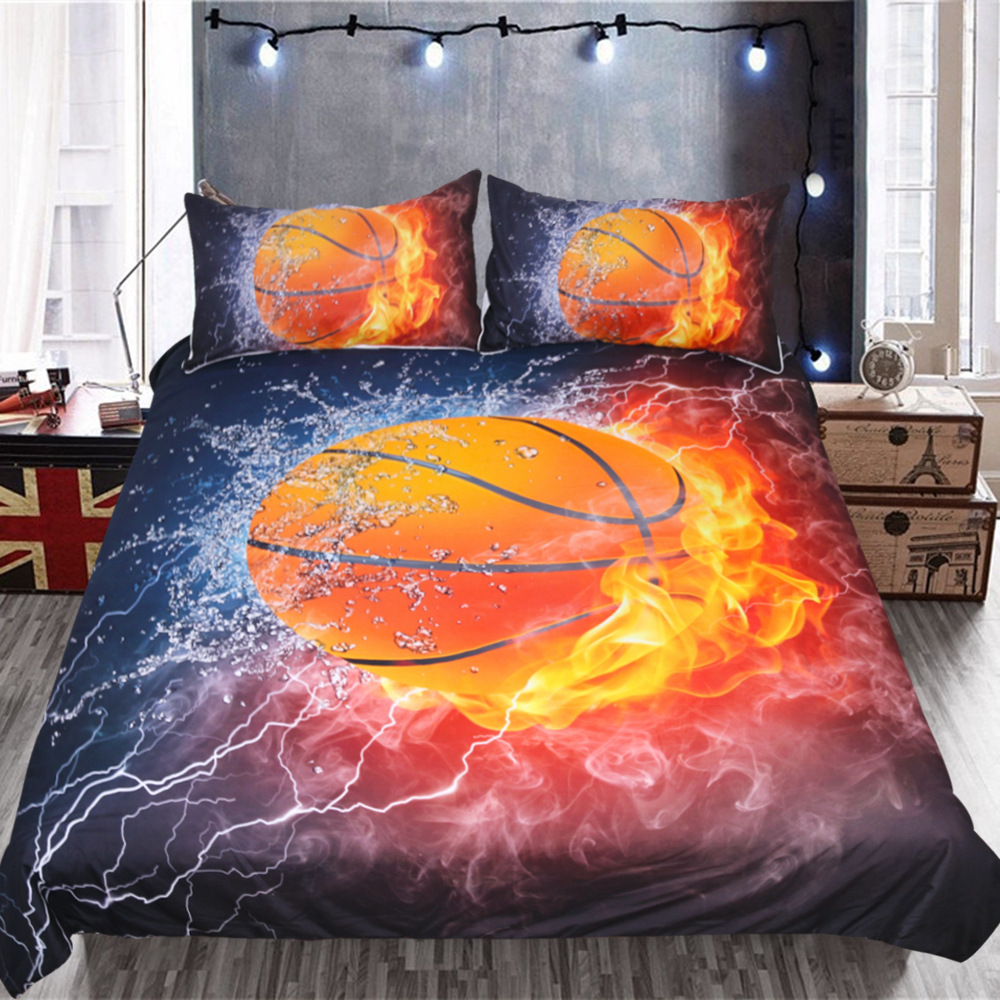 Cross Border Textile Kit Basketball Sports Three Sets Of Quilt Cover Bedding Article Amazon Hot Selling 3D Printed Four-piece Be