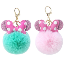 Bow plush keychain creative imitation rabbit fur ball fluffy ladies backpack pendant gift WJ253
