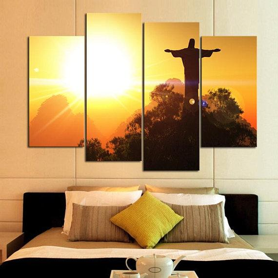 Modern Sunset Sunset Tianshan Stone Statue Christian Jesus Belief For Office Home Wall Decorative Art Painting Poster Frame