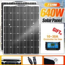 Kit pannello solare flessibile da 320W connettore fai da te completo caricabatterie a energia solare per Smartphone sistema da campeggio per auto da campeggio fotovoltaico power bank solare pannelli solari