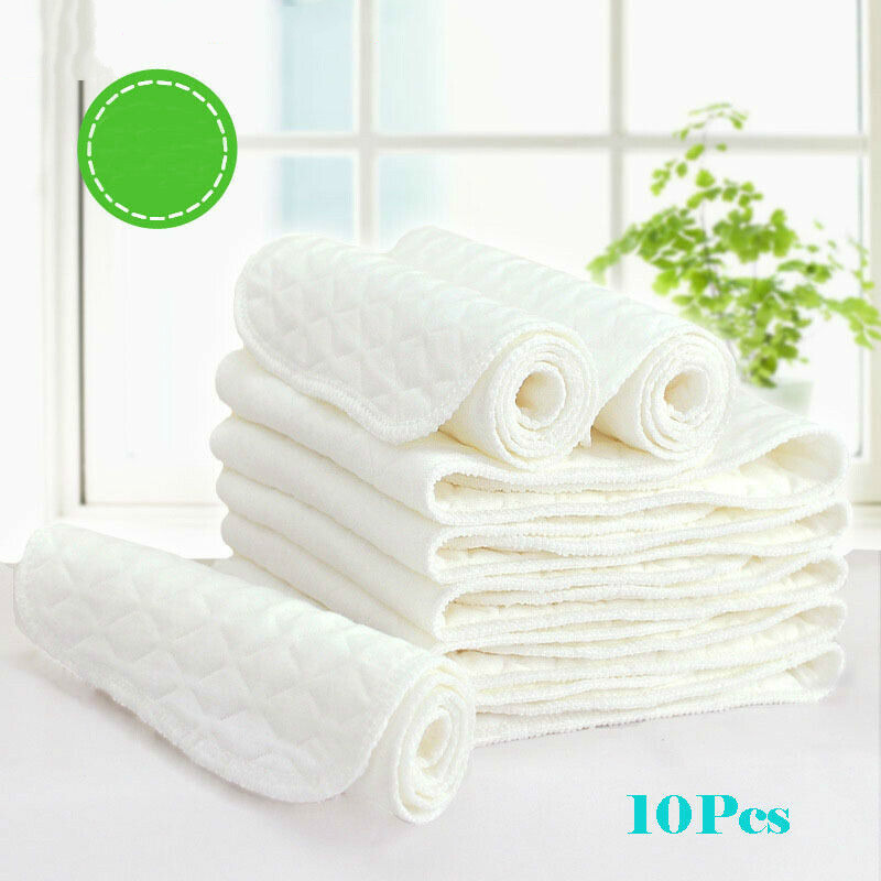10 Pcs 3 Layers Microfiber Baby Nappies Reusable Baby Infant Newborn Cloth Diaper Nappy Liners Insert Fraldas Reutilizaveis