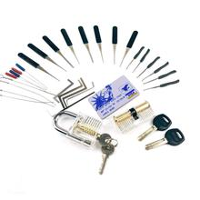 5 in 1 Lock Pick Set Combination for Beginner Training,2pcs Transprent Practice Lock ,12pcs+10pcs Broken Key Remove Tool,5pcs Te