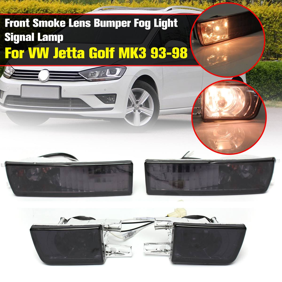 12V 21W Front Smoked Lens Fog <font><b>Light</b></font> Corner Signal <font><b>Light</b></font> for <font><b>VW</b></font> <font><b>Golf</b></font> <font><b>Mk3</b></font> for Jetta Vento 1993-1998 for <font><b>light</b></font> with 2pins connector image