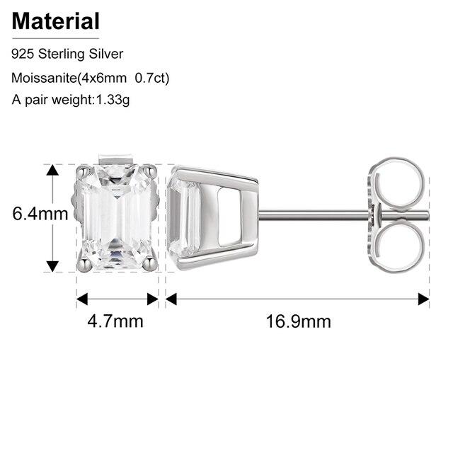 2pcs 0.7ct Baguette Moissanite Diamond Stud Earrings 100% 925 Sterling Silver For Women Girls Men Special Christmas Gift 1.4CTW 3