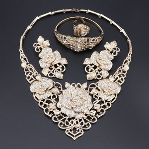Image 2 - Fashion African Jewelry Set  Dubai Gold Jewelry Set Women Customer Nigerian Wedding Brand Jewelry Set Flower Design Gift