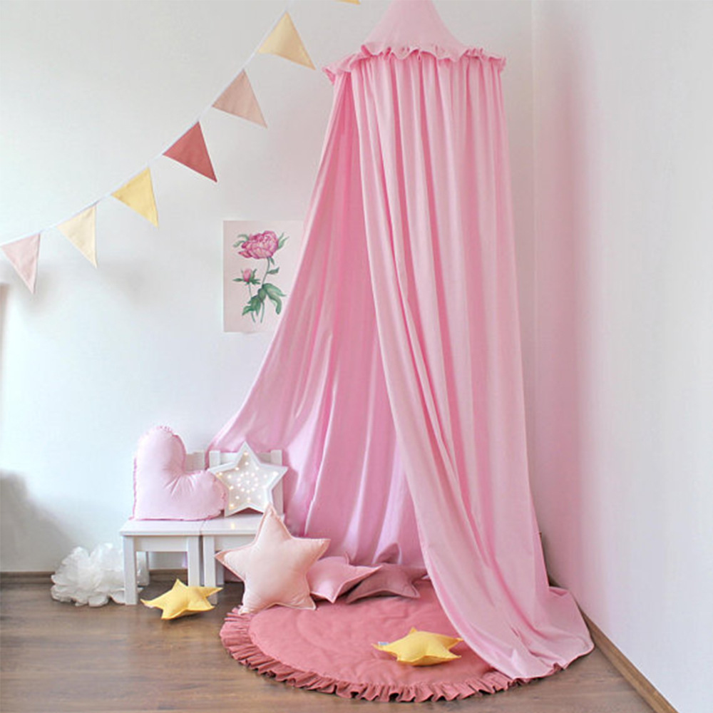 INS New Lace-up Tent Three-dimensional Lace Four-Color Mosquito Nets For Children Breathable Cotton Single Door European And Ame