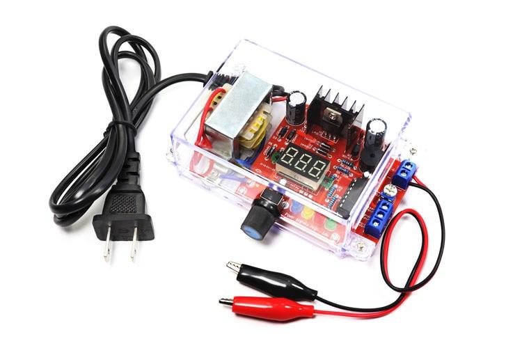 EU 220V DIY LM317 Adjustable Voltage Power Supply Board Learning Kit With Case