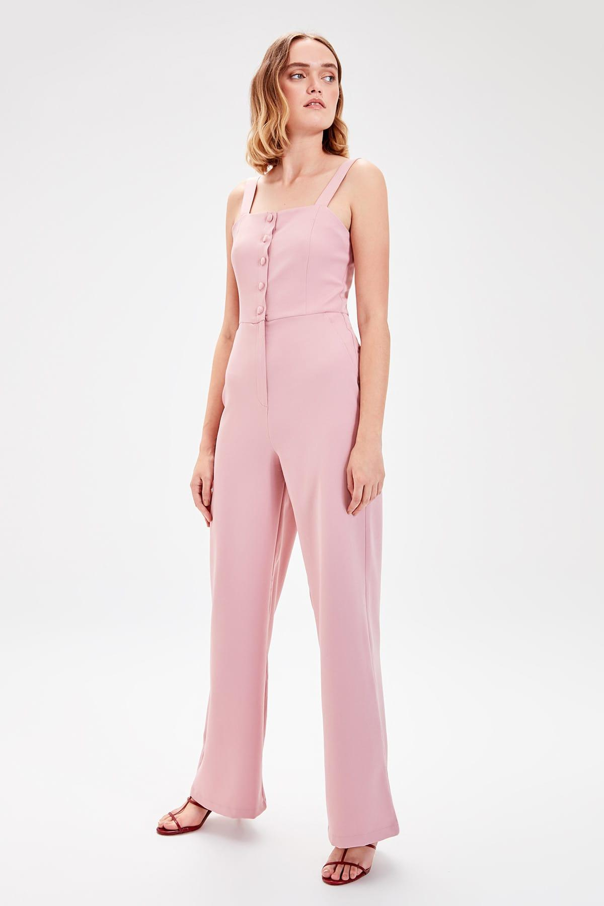 Trendyol Powder Button Detail Jumpsuit TWOAW20TU0011