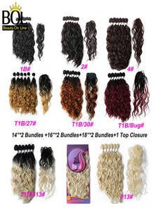 Synthetic-Hair-Bundles Hair-Extensions Closure with High-Temperature Resistan-Fiber Natural-Wave