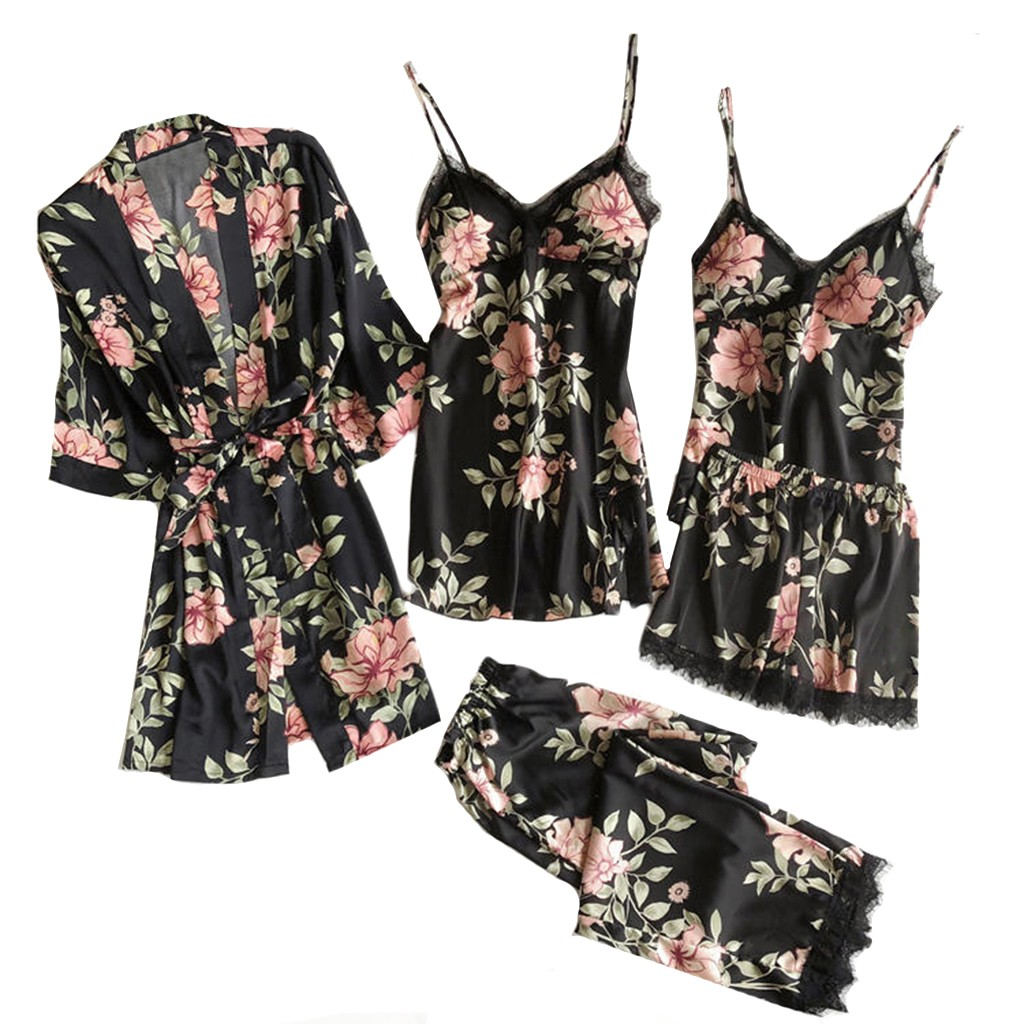 S-3XL 5PC Sexy Lace Women Pajanas Nightdress Satin Robe Bathrobe Trousers Shorts Lingerie Set Pajamas Plus Size Sleepwear