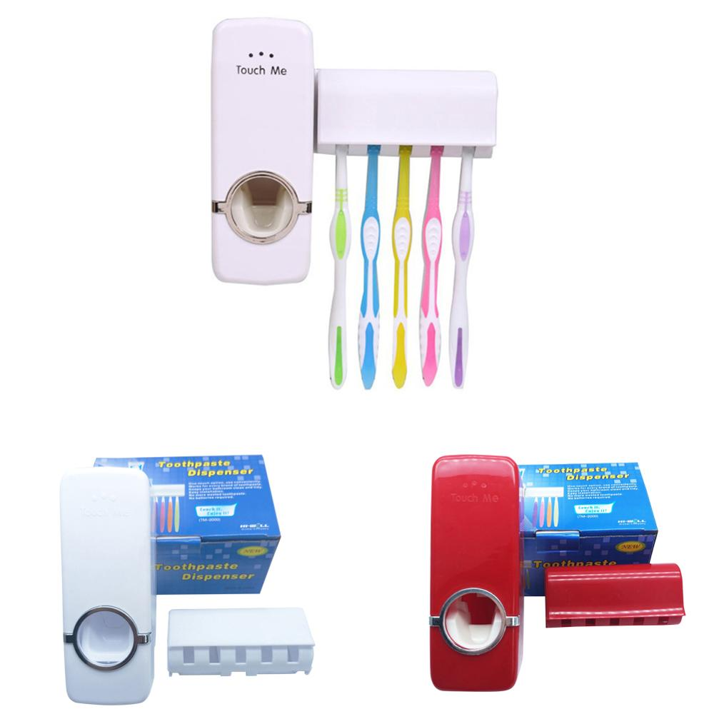 Home Improvement Automatic Toothpaste Dispenser With Five-Slot Toothbrush Holder Set Wall Mount Stand 30FP06