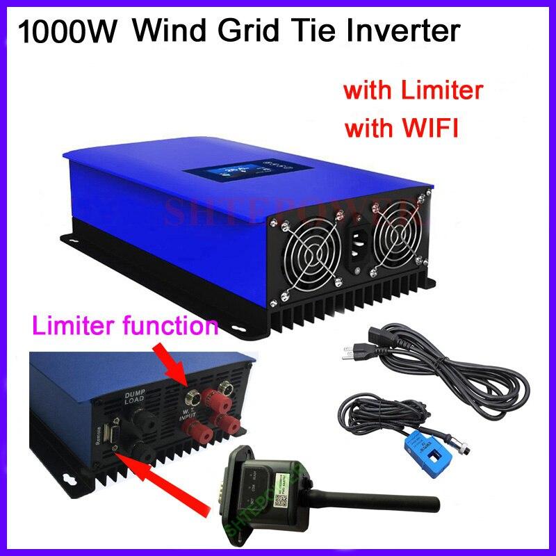 1000W Vento Power Grid Tie Inverter con Limitatore di sensore/Regolatore di Carico del Deposito/Resistenza per 3 Phase 24v 48v turbina eolica con WIFI