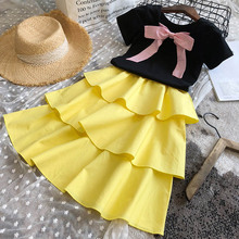 Kids Party Dress New Summer Girls Princess Dress Layered Dress Girl Outfit Bow-knot Ball Gown Children Clothing Clothes 3 7Y girl elegant party dress new summer kids tiered mesh dress sweet solid costumes princess suit children clothing 3 7y