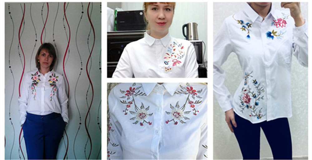 Floral Embroidery White Shirt Blouse  2020 Spring Casual TopTurn Down Collar Long Sleeve Cotton Women's Blouse Feminina 1518 (