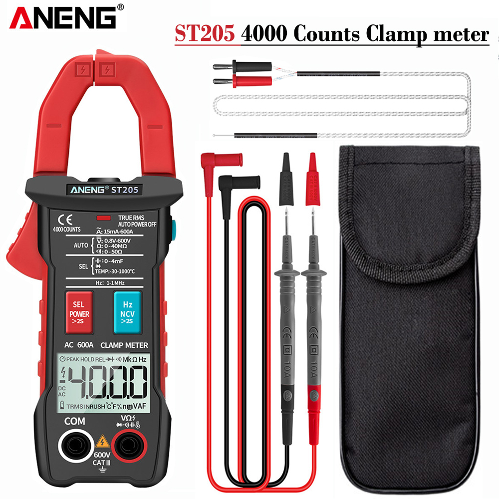 ANENG ST205 Digital Clamp Meter Analog Multimeter Current Clamp DC AC Intelligent AUTO range meter with temperature tester