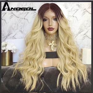 """Image 4 - Anogol Dark Roots Ombre Blonde Long Body Wave 24"""" Heat Resistant Hair Wig Synthetic Lace Front Wigs For Black Women"""