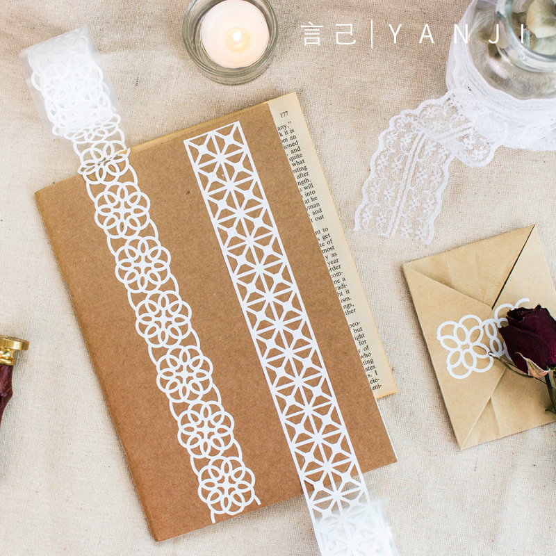 1Roll White Lace Masking Tape DIY Bullet Journal  Planner Decorate Washi Tape Scrapbooking Album Gift Wrapping Kawaii Stationary
