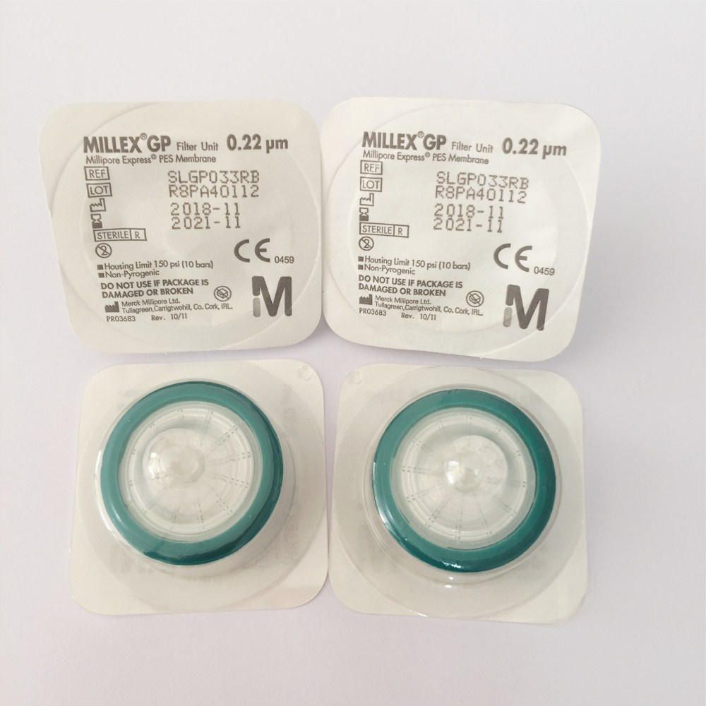 Millex-GP Syringe Filter Unit 33 Mm Millipore Polyethersulfone PES Filter Membrane 0.22 Um Gamma Sterilized SLGP033RB 50PCS/PK