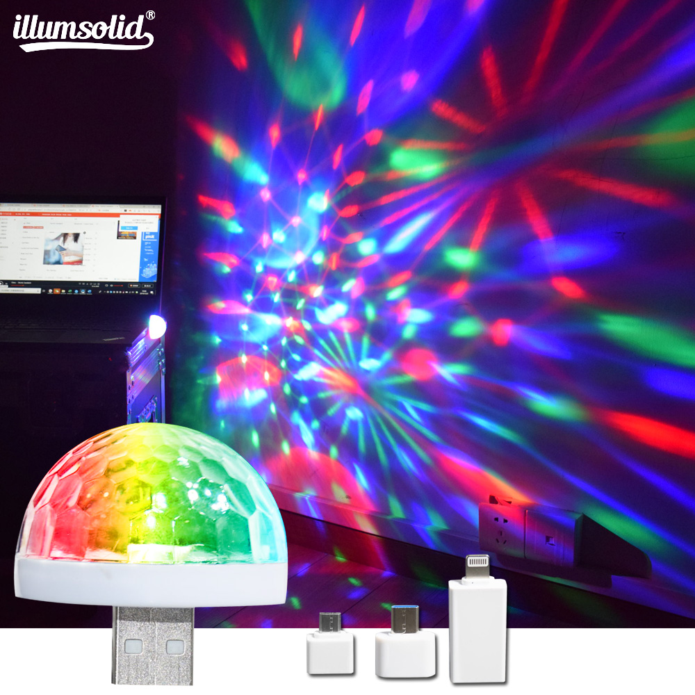 USB Disco Light LED Party Lights Portable Crystal Magic Ball Colorful Effect Stage Lamp For Home Party Karaoke Decor