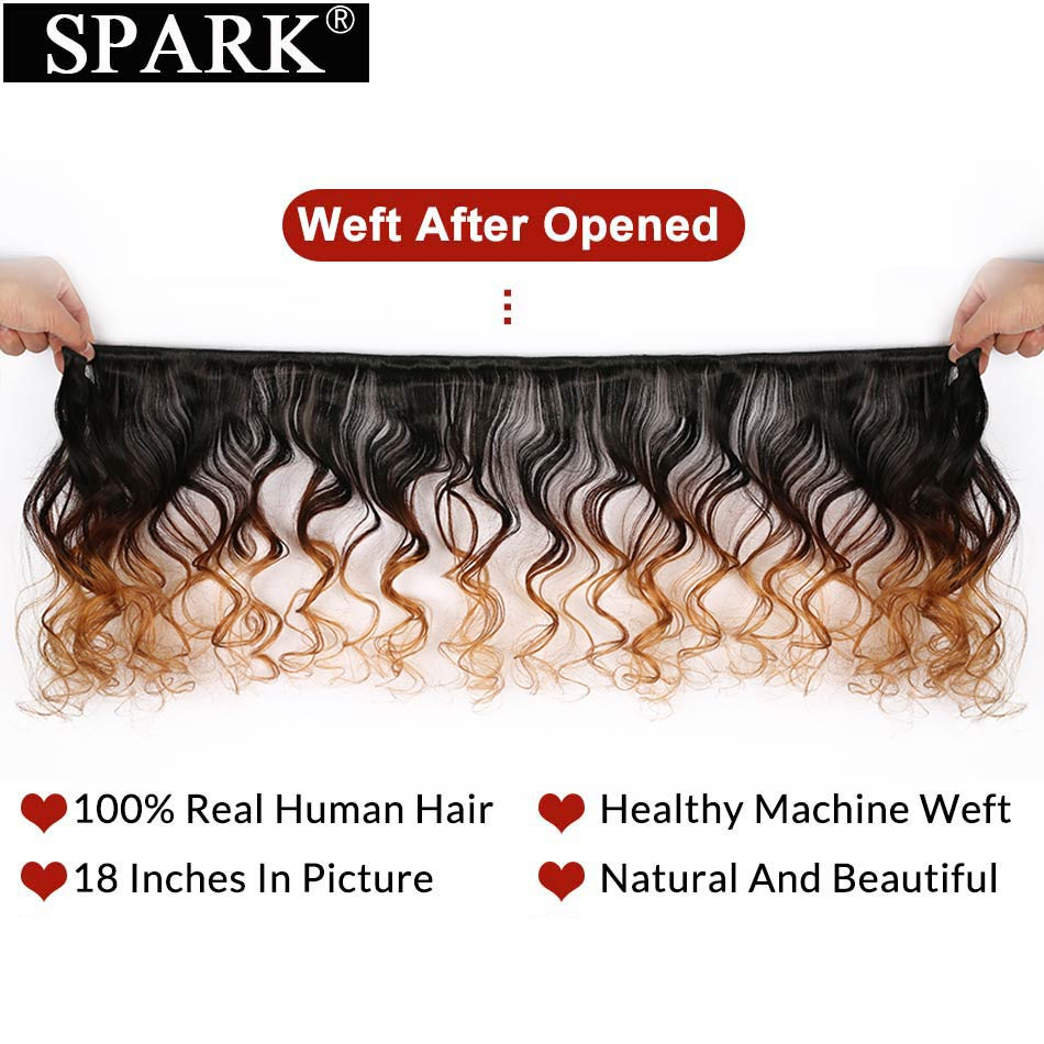 Spark Indian Loose Deep Wave Bundles With Closure Ombre Human Hair Bundles With Closure Remy Human Hair Extensions Medium Ratio