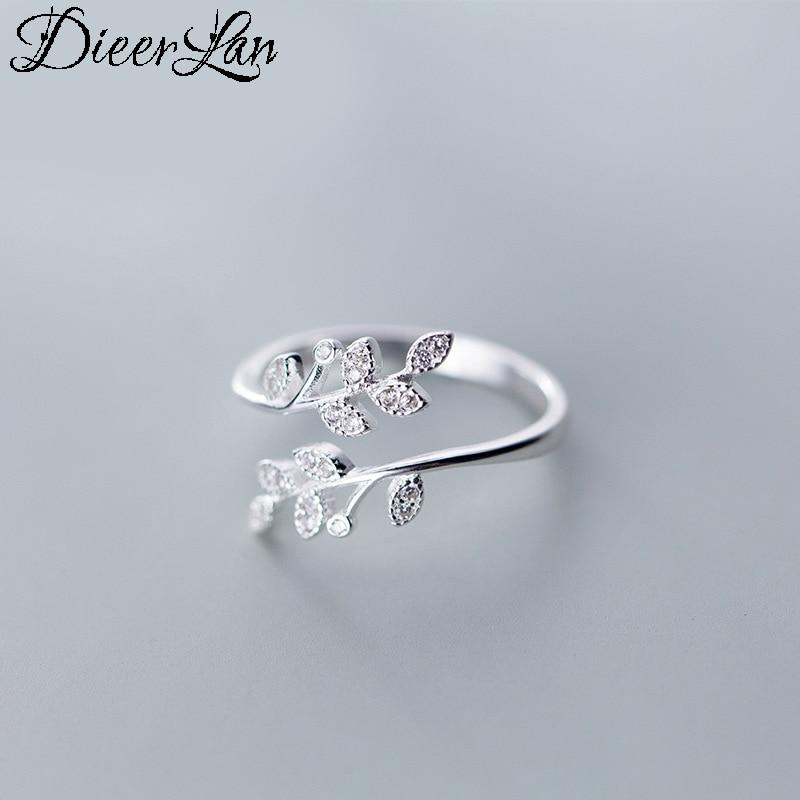 DIEERLAN, Anillos de hojas de cristal de Plata de Ley 925 con personalidad para mujer, joyería de boda, Anillos de dedo antiguos ajustables