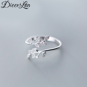 DIEERLAN Personality 925 Sterling Silver Crystal Leaf Rings For Women Wedding Jewelry Adjustable Antique Finger Ring Anillos