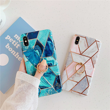 Geometric Marble+Ring Phone Case For iPhone 7 8 6 6S Plus luxury Electroplate Soft IMD cover fundas XR XS MAX X coque