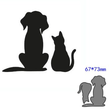 Animal Cat Heart Hollow Metal Cutting Dies Stencil For DIY